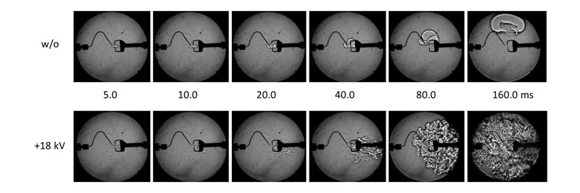 Fig.7 Schlieren images of flame propagation at ø = 0.6